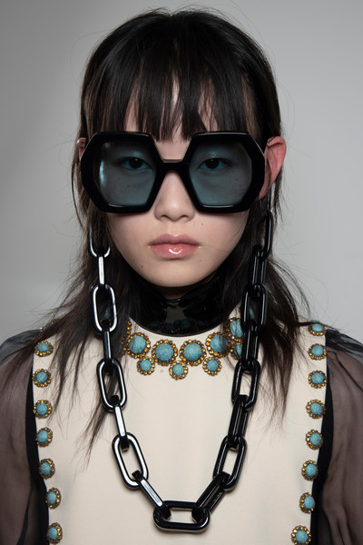 Gucci at Milan Spring 2020 (Backstage) [eyewear,hair,glasses,sunglasses,cool,hairstyle,necklace,vision care,fashion,personal protective equipment,sunglasses,fashion accessory,shoe,dress,fashion,glasses,clothing,eyewear,gucci,milan fashion week,sunglasses,glasses,fashion,fashion accessory,gucci,clothing,ready-to-wear,shoe,dress]