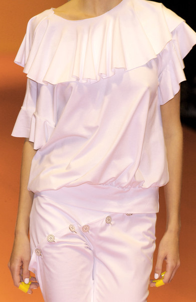 Ines Valentinitsch at Milan Spring 2004 (Details) [clothing,shoulder,white,joint,pink,fashion,ruffle,textile,blouse,dress,supermodel,fashion,runway,haute couture,waist,clothing,ines valentinitsch,pink,milan fashion week,fashion show,haute couture,fashion show,supermodel,runway,fashion,waist]