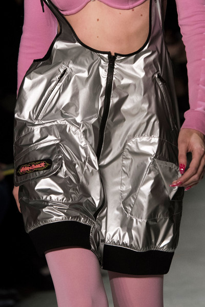 Jeremy Scott at New York Fall 2018 (Details) [clothing,pink,outerwear,leg,thigh,shorts,fashion,personal protective equipment,jacket,footwear,outerwear,jeremy scott,fashion,model,clothing,pink,leg,equipment,satin,new york fashion week,fashion,satin,model]