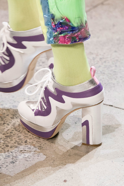 Jeremy Scott at New York Fall 2018 (Details) [footwear,green,purple,pink,shoe,yellow,violet,ankle,fashion,leg,shoe,shoe,footwear,jeremy scott,green,purple,yellow,ankle,fashion,new york fashion week,shoe,high-heeled shoe,purple]