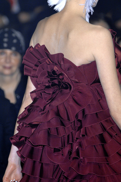 John Galliano at Paris Fall 2007 (Details) [dress,clothing,shoulder,fashion,ruffle,cocktail dress,strapless dress,haute couture,gown,fashion model,dress,gown,cocktail dress,haute couture,fashion,fashion,model,runway,paris fashion week,fashion show,haute couture,runway,fashion,dress,model,french fashion,fashion show,dior,gown]