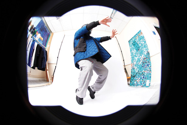 L.Y.P.H. at London Fall 2021 [art,flash photography,flash photography,fashion,sleeve,gesture,collar,font,circle,electric blue,space,t-shirt,fisheye lens,design,product,product design,recreation,science,physics,london fashion week,fisheye lens,design,product design,art,recreation,lens,product,camera lens]
