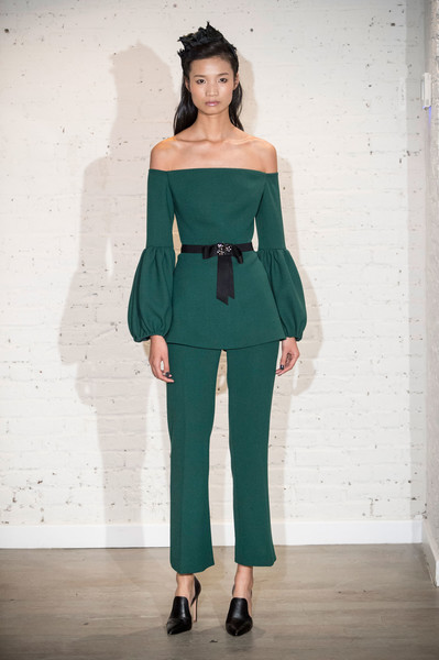 Lela Rose at New York Fall 2017 [fashion model,clothing,shoulder,fashion,fashion show,green,joint,runway,haute couture,standing,referee adult costume,lela rose,fashion,costume,haute couture,runway,clothing,suit,new york fashion week,fashion show,costume,fashion,clothing,runway,fashion show,suit,pantsuit,haute couture,female referee adult costume]