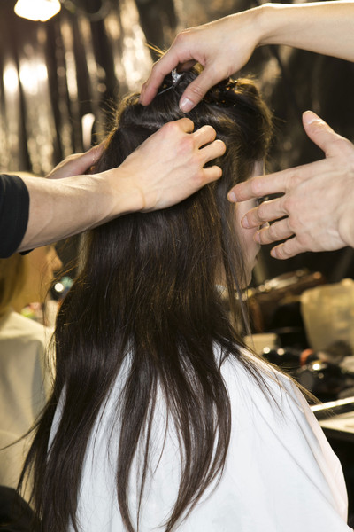 Maison Martin Margiela at Paris Fall 2013 (Backstage) [hair,beauty salon,hairstyle,hairdresser,long hair,beauty,hair coloring,black hair,hand,layered hair,hair,maison martin margiela,fashion,brown hair,clothing,runway,beauty,hair coloring,paris fashion week,fashion show,fashion,maison margiela,ready-to-wear,fashion show,long hair,beauty parlour,clothing,runway,brown hair]