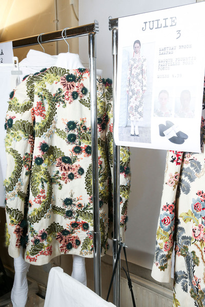 Maison Martin Margiela at Couture Fall 2014 (Backstage) [clothing,green,pattern,fashion,textile,design,dress,outerwear,visual arts,outerwear,dress,maison martin margiela,couture fall,pattern,design,textile,flower,clothing,interior design services,interior design services,textile,pattern,outerwear,design,flower]