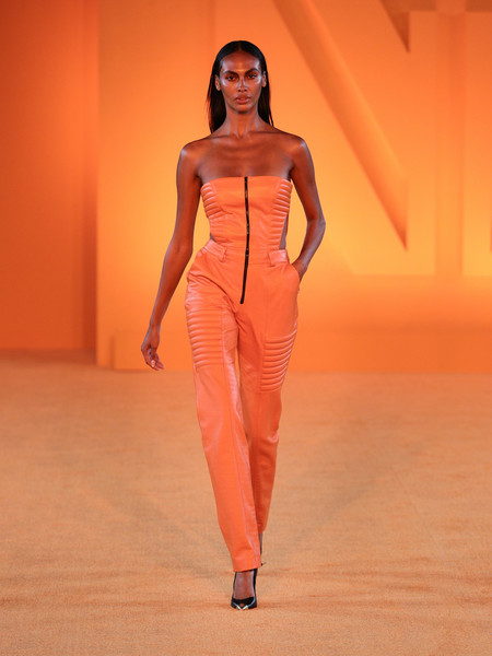 Marcell Von Berlin at New York Spring 2022 [clothing,face,leg,human body,neck,sleeve,waist,orange,thigh,knee,sneakers,fashion,haute couture,runway,model,human body,marcell,von berlin,new york fashion week,fashion show,fashion,fashion show,telfar,haute couture,runway,handbag,model,sneakers,sandy liang]