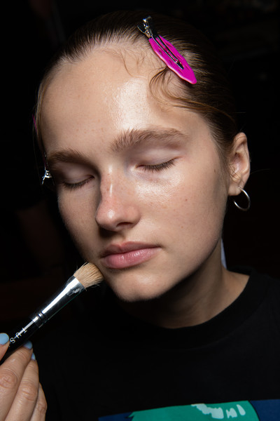 Maryling at Milan Spring 2020 (Backstage) [face,hair,lip,eyebrow,nose,forehead,cheek,skin,chin,head,forehead,lips,purple,face,hair,maryling,skin,beauty.m,milan fashion week,close-up,forehead,purple,close-up,lips,beauty.m]