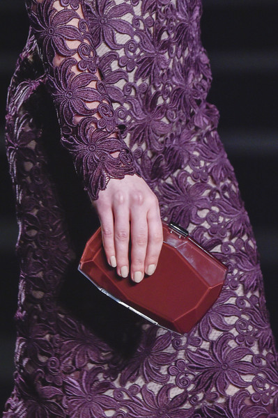 Monique Lhuillier at New York Fall 2015 (Details) [purple,violet,fashion,magenta,pink,leather,hand,nail,handbag,dress,monique lhuillier,fashion,purple,haute couture,runway,model,hand,high fashion,pink,new york fashion week,haute couture,runway,model,fashion,purple,autumn,high fashion,winter,physical fitness]