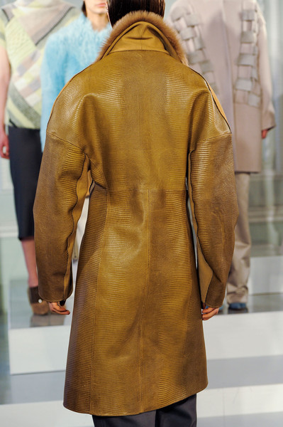 Nicole Farhi at London Fall 2014 (Details) [clothing,outerwear,overcoat,coat,leather,yellow,fashion,jacket,leather jacket,sleeve,outerwear,socialite,nicole farhi,textile,clothing,fur,coat,fashion,jacket,london fashion week,fur,socialite,textile]