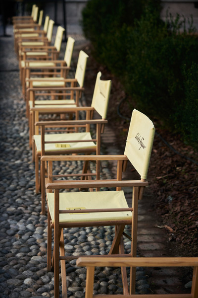 Salvatore Ferragamo at Milan Spring 2021 (Backstage) [chair,furniture,folding chair,wood,table,bench,outdoor furniture,hardwood,furniture,m,salvatore ferragamo,chair,spring,product design,folding chair,paris,milan fashion week,fashion show,/m/083vt,paris,salvatore ferragamo s.p.a.,chair m,ready-to-wear,product design,fashion show,spring,la table de m,summer]