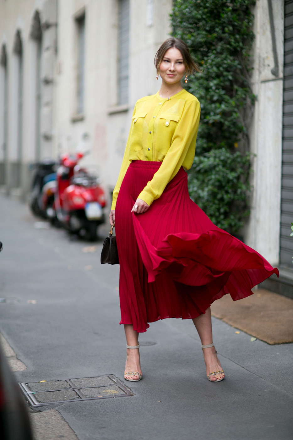 Red And Chartreuse The Best Street Style At Milan
