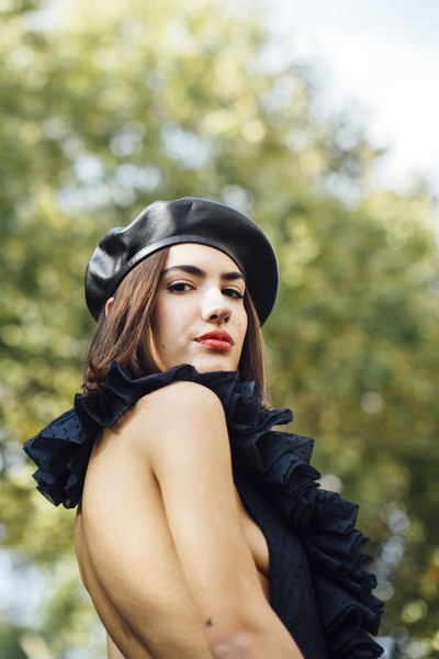Leather Beret and Ruffles