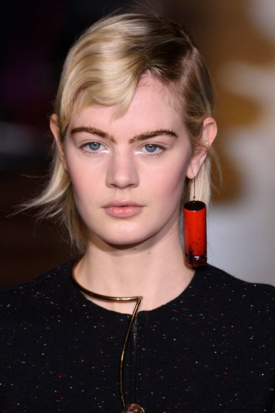Stella McCartney at Paris Fall 2016 (Details) [hair,face,eyebrow,lip,hairstyle,blond,beauty,fashion,chin,cheek,blond,stella mccartney,hair,hairstyle,fashion,head hair,runway,lip,beauty,paris fashion week,blond,hairstyle,head hair,lob,runway,bangs,long hair,fashion,layered hair,brown hair]