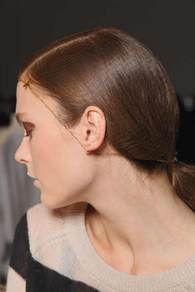 Todd Lynn at London Spring 2012 (Backstage) [hair,face,hairstyle,chin,ear,neck,forehead,head,cheek,eyebrow,todd lynn,hair,brown hair,hair,bun,hair coloring,color,ear,neck,london fashion week,bun,hair coloring,chignon,long hair,hair m,brown hair,hair,color,brown,beauty.m]