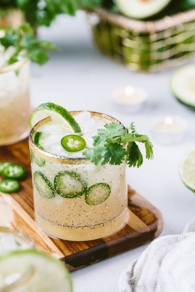 Cilantro-Infused Spicy Jalapeno Margaritas