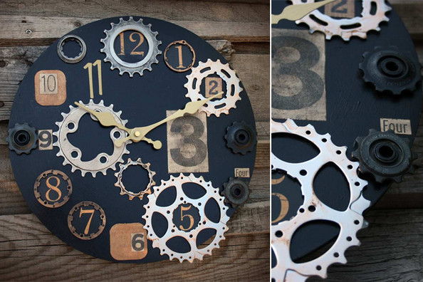 A One-of-a-Kind Clock Made from Repurposed Bike Pieces