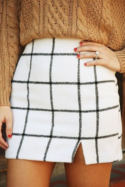 White Grid Skirt