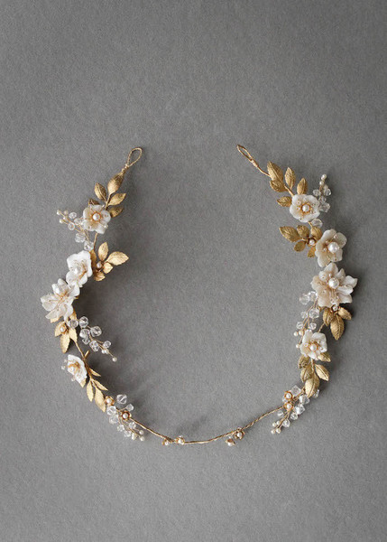 Gold Leaves and White Flowers