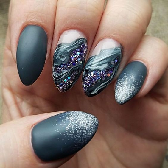 Matte grey marble sparkle gorgeous geode inspired designs are gorgeous geode inspired designs are the newest trend in nail art prinsesfo Choice Image