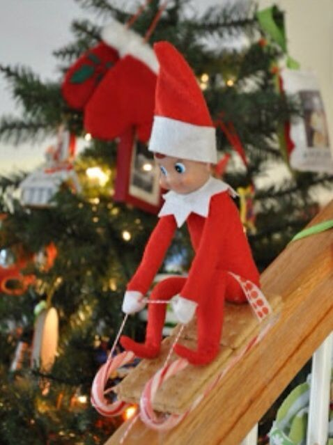 Racing Down Bannisters In Candy Cane Sleds Elf On The