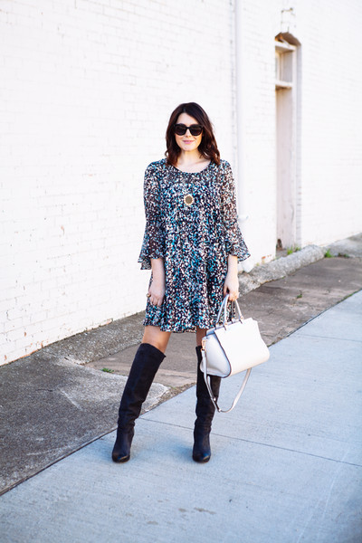 Flouncy Dress and Knee-High Boots