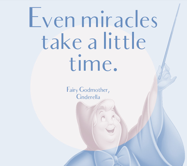 """Even miracles take a little time."" - Fairy Godmother, Cinderella"