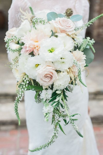 Cascading Peach & White Bouquet