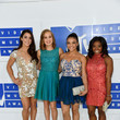 Aly Raisman, Madison Kocian, Laurie Hernandez and Simone Biles in Glitzy Cocktail Dresses