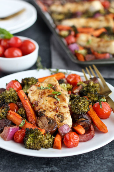 Use One Pan For A Balsamic Chicken Veggie Bake