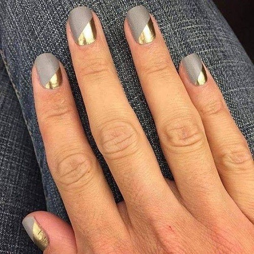 Gold And Silver Manicure , The Best Fall Nail Ideas on