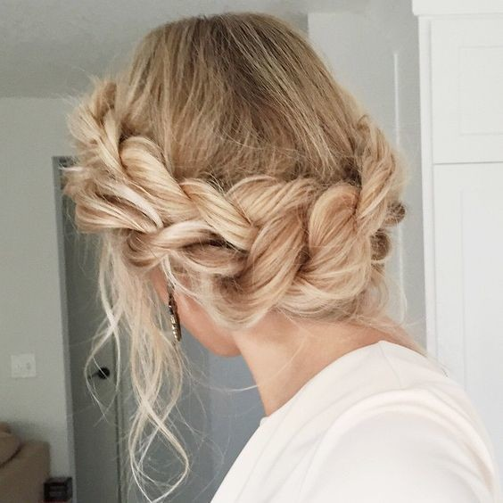 Romantic Braided Crown Updo