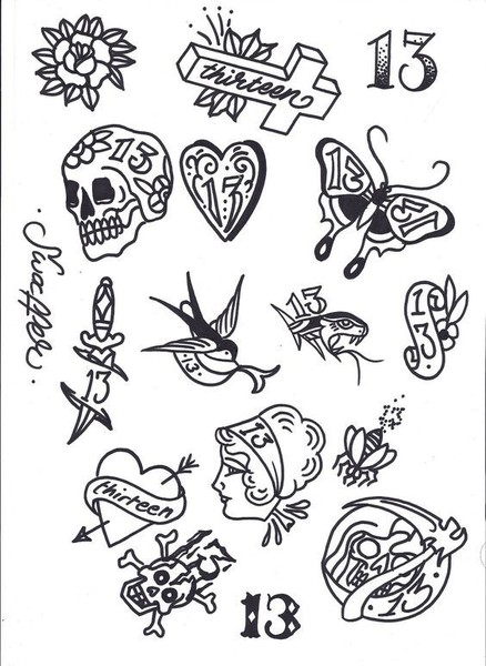 tattoo flash art these friday the 13th tattoos will prove it 39 s not so unlucky after all livingly. Black Bedroom Furniture Sets. Home Design Ideas