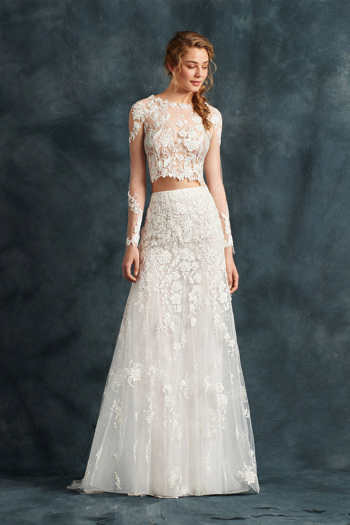 Elegant 2 Piece Wedding Dresses : Lace appliqued tulle modern and elegant two piece