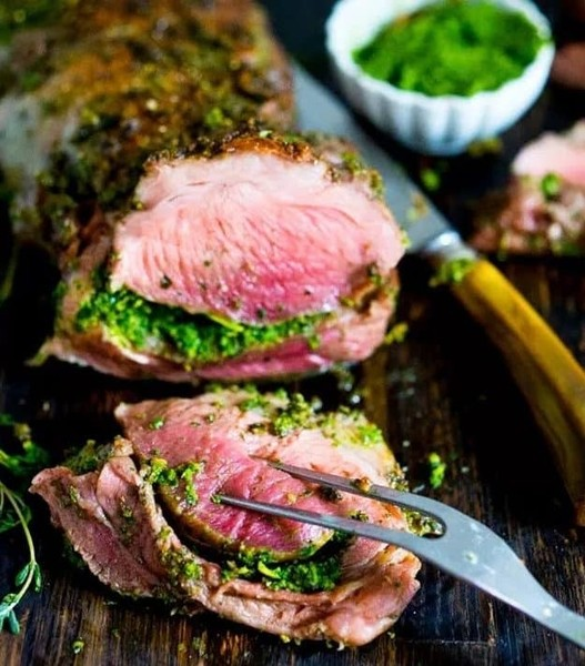 Herb-Stuffed Leg of Lamb with Mint Gremolata