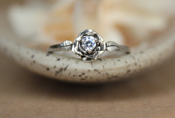 Rose Ring with White Sapphire