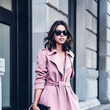 A Pink Coat and Gray Slip Dress