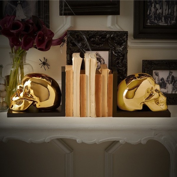 Gleaming Skull Bookends
