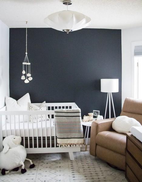 Paint one wall a solid, dark color