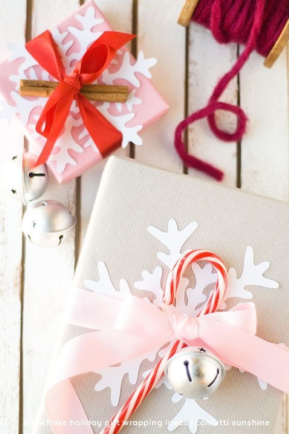 Snowflake and candy cane accents fun ways to spruce up for Wrapping present ideas for christmas