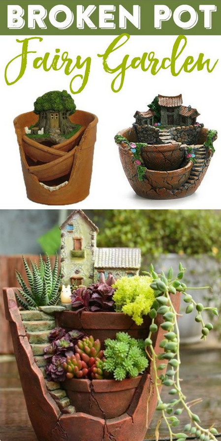 Broken Pot Planter Sweet And Whimsical Miniature Fairy