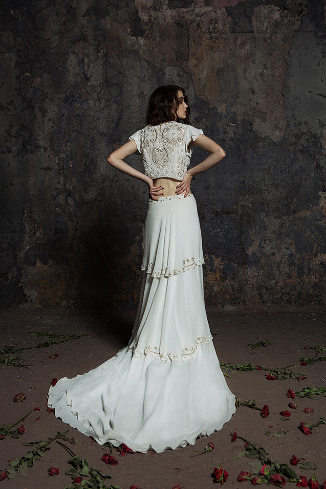 Elegant 2 Piece Wedding Dresses : Antique beading modern and elegant two piece wedding
