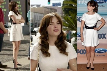 Seeing Double: Zooey Deschanel Sports the Same Skater Dress On and Off Screen