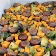 Throw Sausage, Brussels Sprouts, And Sweet Potatoes Into One Pan