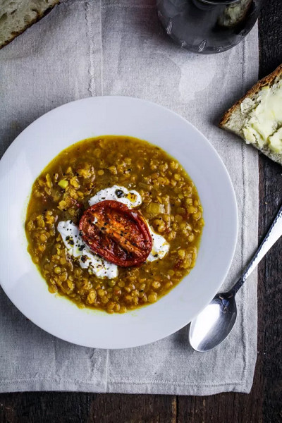 Lentil and Roasted Tomato Soup with Saffron