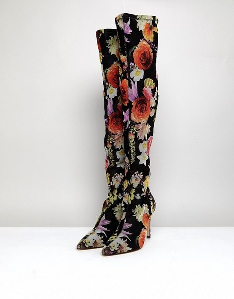 Floral Print Over The Knee Boots