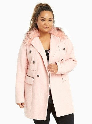 Torrid Faux Fur Collar Wool Midi Coat