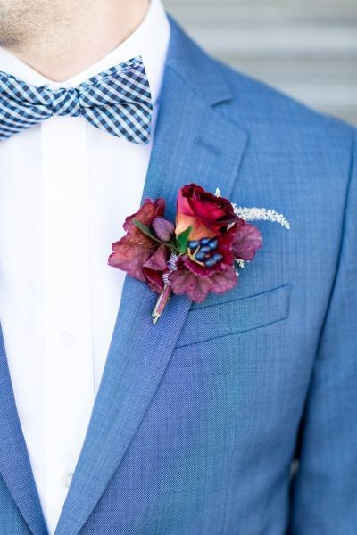 A Patterned Bow-Tie and Crimson Boutonniere