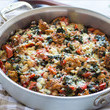 One-Pot Tomato Casserole with White Beans + Parmesan Croutons