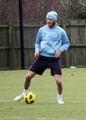 David Beckham, whose contract with the LA Galaxy expires in November, practices at the Tottenham training ground in London. The soccer stud and midfielder, 36, has allegedly been still a target in the eyes of Tottenham manager Harry Redknapp, who apparently still wants to sign Beckham. After training, Beckham - in a different outfit - left the training grounds and headed back to his car.