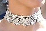 Olivia Munn Lace Choker Necklace